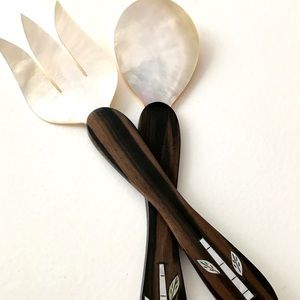 Genuine Mother of Pearl Shell Salad Servers